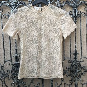 vintage CACIQUE LINGERIE nude sheer lace top